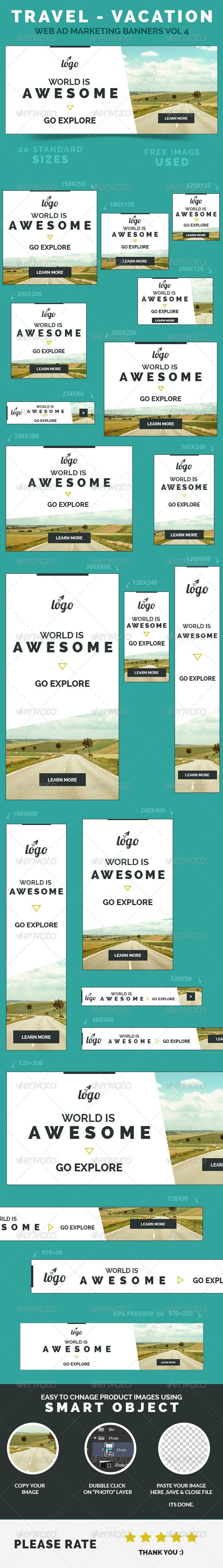 Travel - Vacation Web Ad Marketing Banners Template PSD | Buy and Download: http://graphicriver.net/item/travel-vacation-web-ad-marketing-banners-vol-4/8500668?WT.ac=category_thumb&WT.z_author=webduck&ref=ksioks