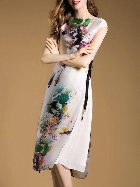 Multicolor Silk Vintage Printed Midi Dress