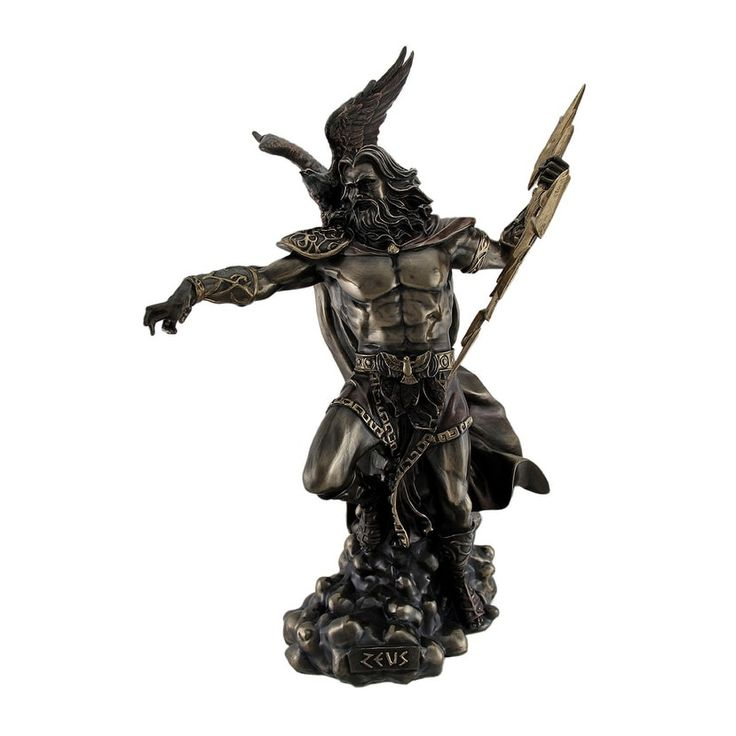 Zeus Greek God of Thunder w/Aetos Dios Wielding Lightning Bolt Statue, Gold (Resin)