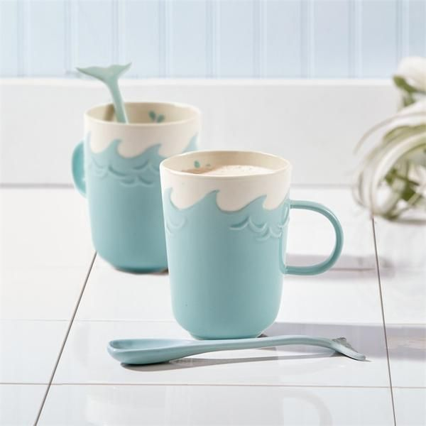 Two's Company Splish Splash Mug With Stirrer S/4   Cute!           – Modish Store