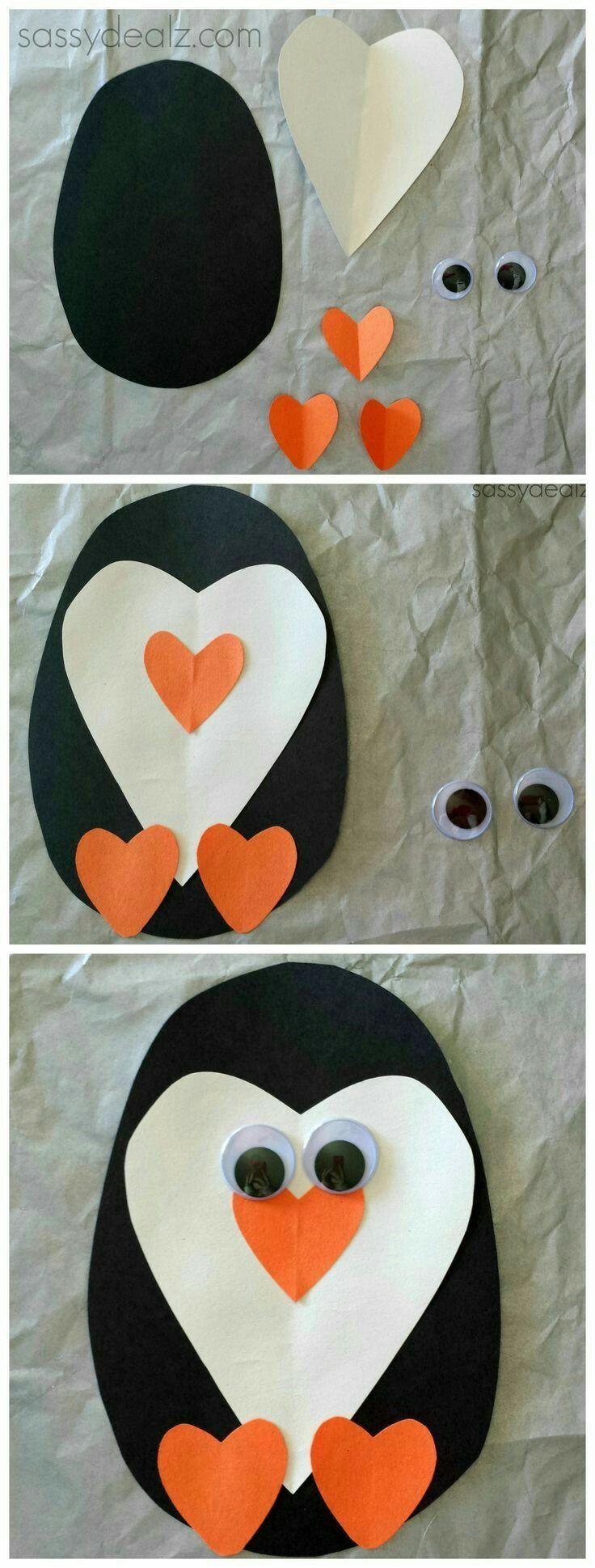 Paper Heart Penguin craft for kids.
