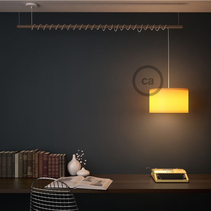 Hanging Lamp for lampshades, pendant round solid fabric cable mt.2 Glittering Grey RL03. Black metal