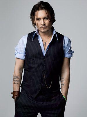 Johnny Depp in Stripes Waistcoat with Long Sleeve