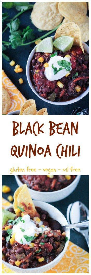 Black Bean Quinoa Chili w/ cocoa - packed with protein and healthy veggies, this vegan chili is hearty and satisfying. The cocoa powder lends a fantastic depth of flavor.