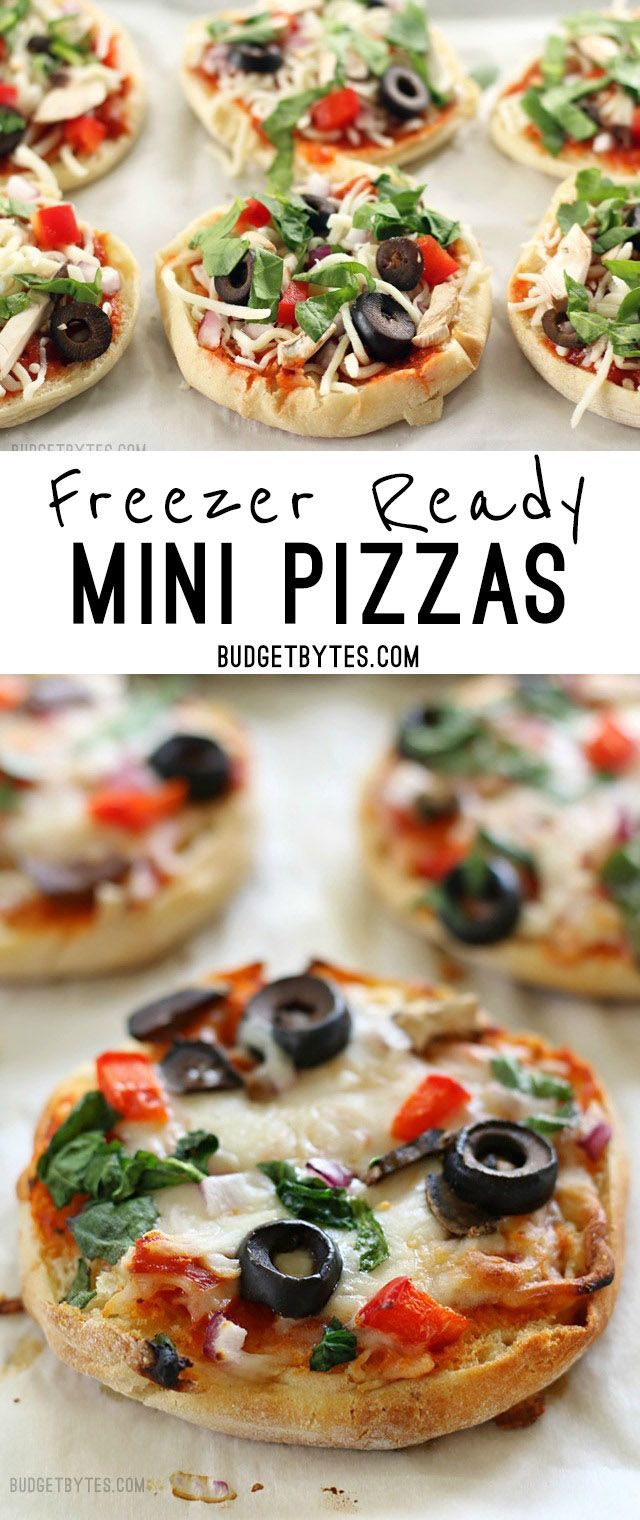 Freezer Ready Mini Pizzas are an easy and inexpensive snack to keep on hand in your freezer. @budgetbytes