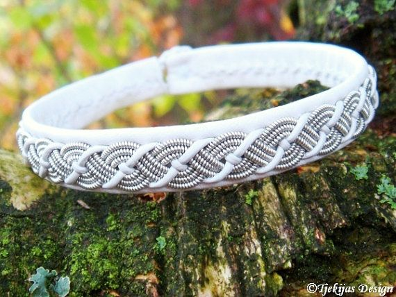White Reindeer Leather Sami Bracelet VALHAL Viking Jewelry Embellished with Braided Lapland Pewter Wire - Handcrafted Natural Tribal Elegance.