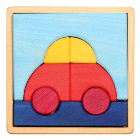GRIMM's - Puzzle Voiture en bois non-verni pour bambin, jeu d'imagination et de motricité fine - 16 cm - JOUETS EN BOIS/A partir de 1 an - MaMoulia