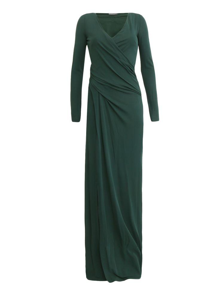 Купить со скидкой Alberta Ferretti зеленое платье-макси с драпировкой (123574) – распродажа в Боско Аутлет