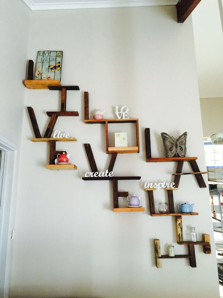 LIVE LOVE LAUGH floating shelving designed from recycled hardwood timbers