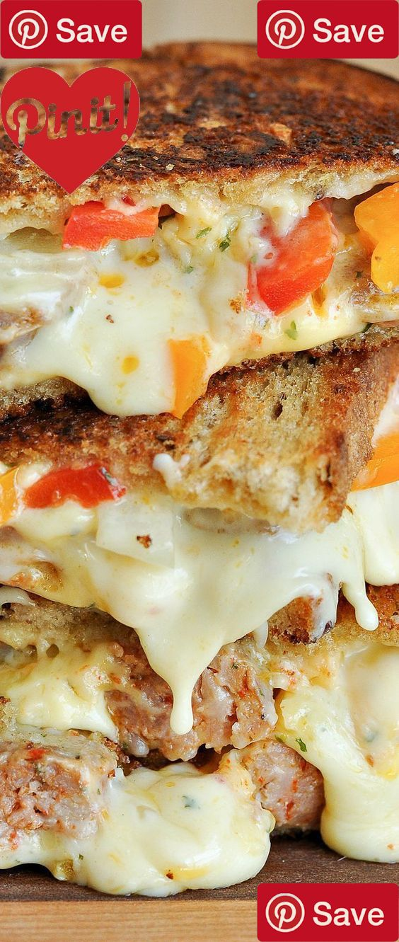 Sausage and Pepper Chipotle Grilled Cheese - Ingredients  Meat  3 Italian sausages hot  Produce   Bell pepper orange  1 Parsley   Red bell pepper   White or yellow onion small thin  Dairy  1 tbsp Butter  2 oz Chipotle cheddar [i used cabot  2 oz Gouda  3 slices Your favorite melty deli cheese [american  Beer Wine & Liquor  4 slices Your favorite bread [rye #delicious #diy #Easy #food #love #recipe #recipes #tutorial #yummy @ICookUEat - Make sure to follow @ICookUEat cause we post alot of…