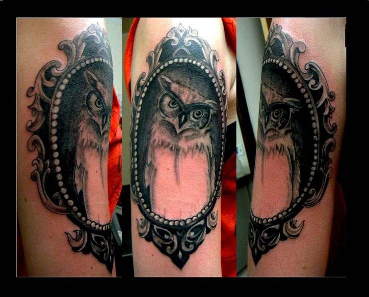 Owl Cameo Frame Tattoo Tattoo by Sean Blake 9th Street Tattoo Studio Steamboat Springs Colorado