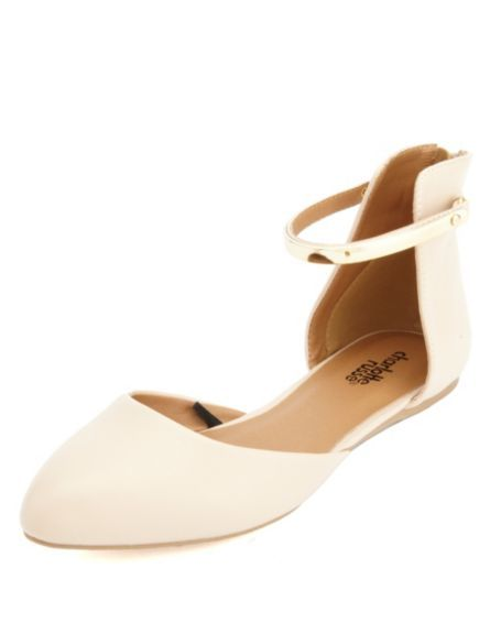 Gold-Plated Pointed Toe D'Orsay Flats: Charlotte Russe - in black & gold, too! Great career shoes!
