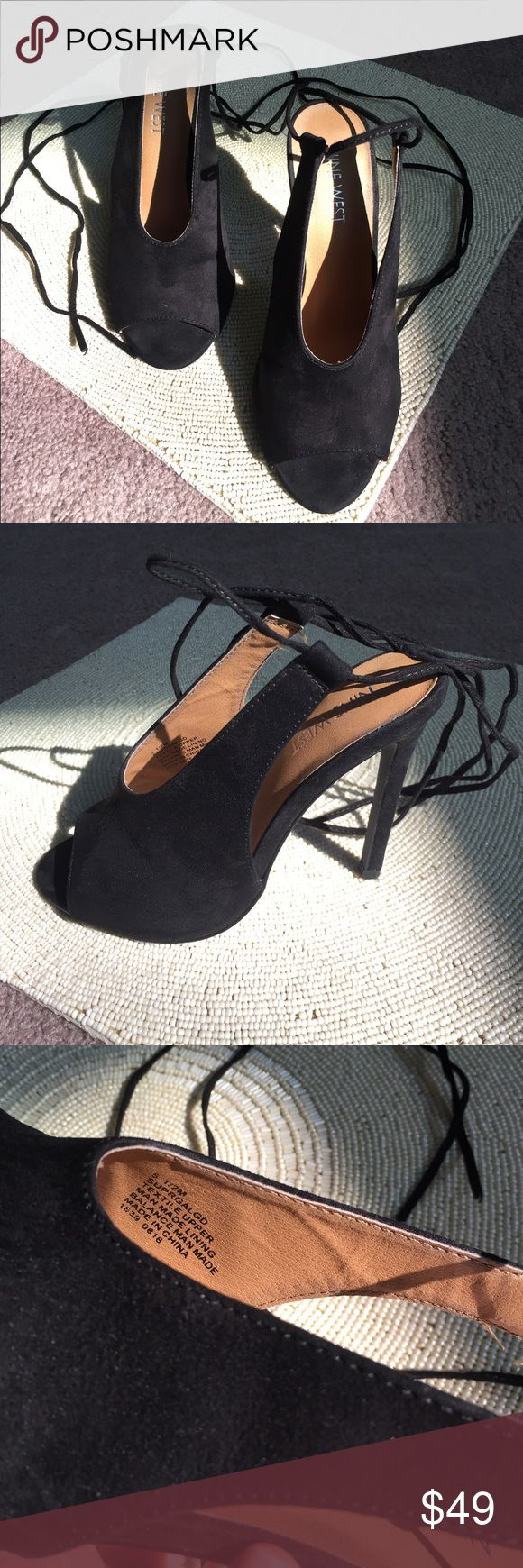 Nine West Heels Man made lining. Suede on outside. Lace up the leg. Only worn once. Still with box. Nine West Shoes Heels