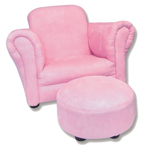 Pink armchair and ottoman