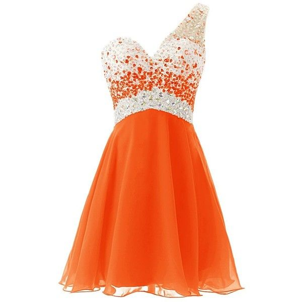 Dresstells One Shoulder Homecoming Dress with Beadings Short... ($80) ❤ liked on Polyvore featuring dresses, lullabies, one shoulder dress, short cocktail dresses, beaded bridesmaid dresses, short dresses and short beaded cocktail dresses