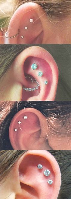 Simple Yet Cool Ear Piercing Combinations Ideas at MyBodiArt.com - Constellation Earrings - Cartilage Studs - Helix Jewelry - Swarovski Crystal 16G Pinna Barbells - Heart Daith Rook Ring - Tumblr