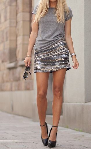 Grey t-shirt, sparkly gold and silver mini skirt, and heels