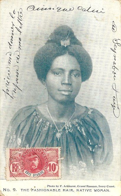 "Africa | ""Ivory Coast"" #9 in Postcard series of Coastal African hair styles from the early 1900's"