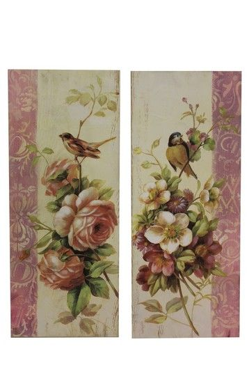 Zestaw 2 Obrazków Kwiaty-Ptaki