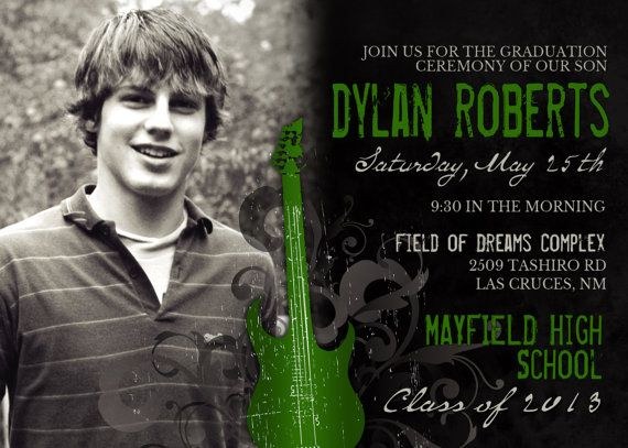 Guys Grunge Guitar Graduation Announcement  by TheFunkyOlive