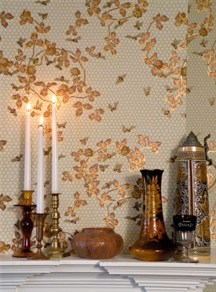"Honeybee Wallpaper Design date 1881 Trimmed width: 20 1/2"" Repeat: 24"" drop match Roll size: 6 yards long,  covering approximately 35 sq. ft..."