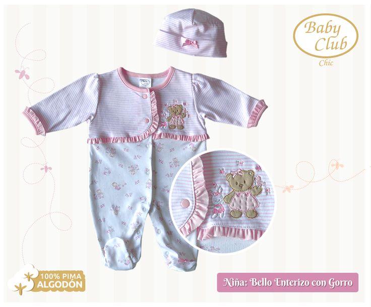 Línea para el Recién Nacido Enterizo con Gorro para bebé niña en Algodón 100% Pima Peruano. Colección Baby Gift by Baby Club Chic.