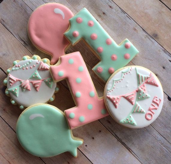 Shabby Chic 1st Birthday Sugar Cookies (1 dozen)