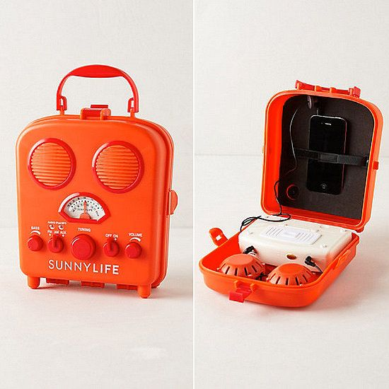 The retro facade, cheery color options, and compact size of this Swansea Beach Radio ($40) make it ideal for toting to the beach, campsite, or any other place where an electrical outlet isn't readily available. Hook up your iPhone/iPod or go old school and switch on the AM/FM radio.  — AE