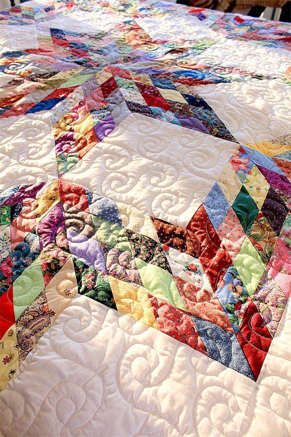 Broken Star Quilt White And Multicolor Quilt Handmade