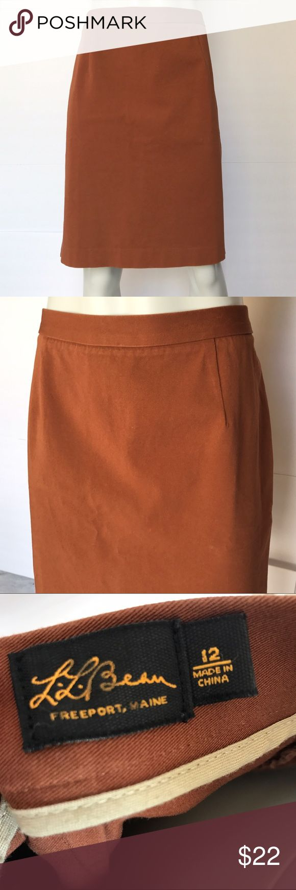 L.L.Bean brown pencil skirt Gorgeous golden brown skirt. Pinned on the mannequin to fit but is a traditional pencil skirt. Khaki fabric. Beautiful knee length skirt for your wardrobe. L.L. Bean Skirts Pencil