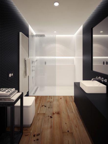 Suelo de madera, paredes negras, ducha clara. #bathroom#