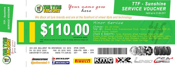 Get the Minor Service Voucher to service you car at our Sunshine Store  http://ttf.com.au/buy/wheels-tyres-car-service/523013/ttf-passenger-car-minor-service-voucher-sunshine