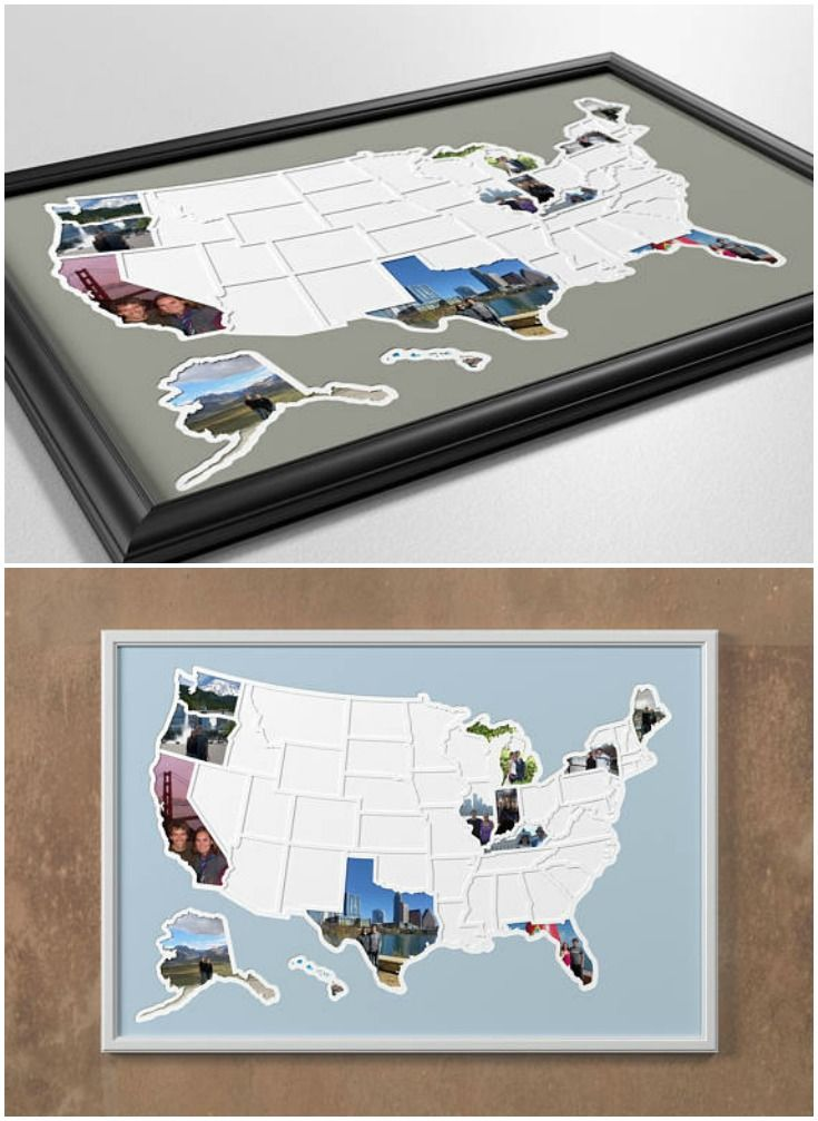 Add your own photos to each of the 50 United States states to capture a lifetime of memories / travel and create a one-of-a-kind map showing where you've been or where you're going.This USA photo map makes a great gift for anyone with the goal of visiting all 50 states! Unique wall art idea.
