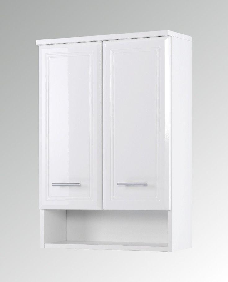 Hängeschrank Bad NEAPEL  Hochglanz Weiß / Weiß Landhausstil für Ihr Badezimmer. Badezimmer-Oberschrank - 2-türig - Breite 50 cm.