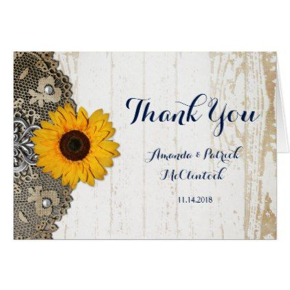 Rustic Sunflower Lace Wedding Thank You Card Outdoor Gifts And Country Weddings
