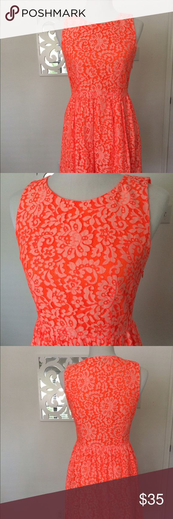 "Madewell Neon Orange Lace Dress Madewell knee-length sleeveless lace dress in neon orange. Size 4. Pre-owned but in excellent shape, no visible issues. Side zipper. Waist is slightly high but not empire. Shoulder to waist- 15"". Waist to hem- 19"". Waist (measured straight across)- 14"". Madewell Dresses Midi"