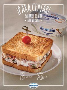 Después de un día largo de trabajo, te toca consentirte con un Sándwich de atún a la vizcaína. #Sandwich #QuesoPhiladelphia #Atún #Receta #Emparedado #Sabor #RecetaPhiladelphia