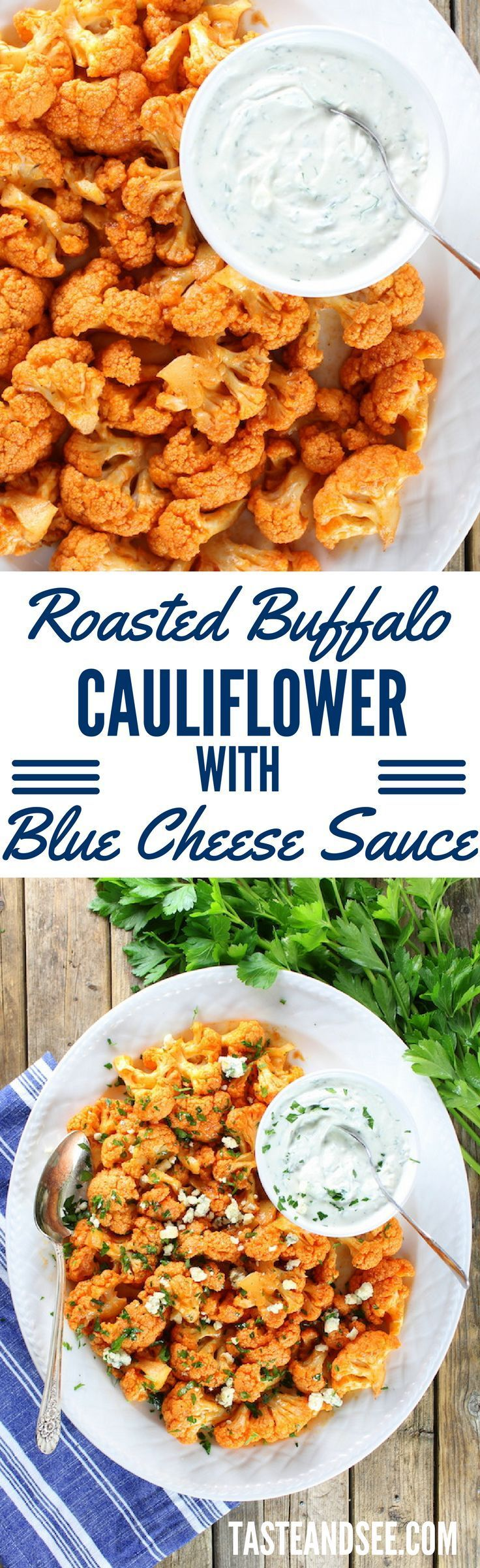 Roasted Buffalo Cauliflower with Blue Cheese Sauce! Low-calorie, low ...