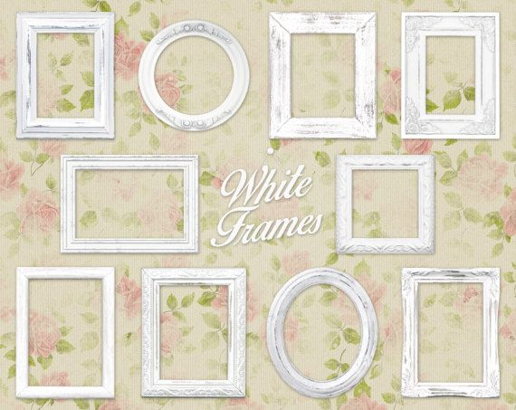 White Shabby Chic Picture Frame Clip Art Clipart: \