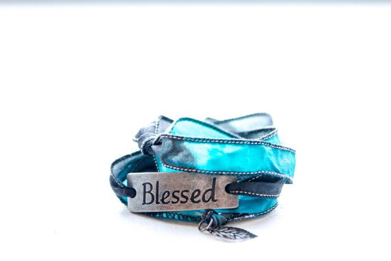 Silk Wrap Bracelet in Black and Blue - Blessed