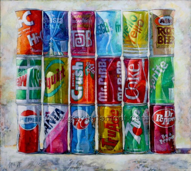 """""""Pop Art"""" Gordon Smedt  60"""" x 67"""" oil on canvas - what i find interesting is that they are all neatly arranged, displaying order, then they have dents which is a sign of violence, Disorder."""