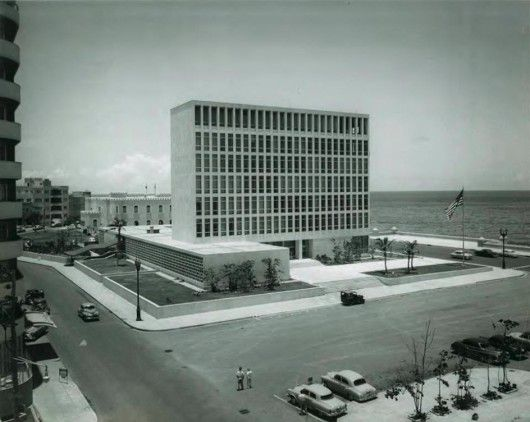 United States Embassy in Havana / Harrison & Abramovitz / The United States' diplomatic presence in Cubais housed in a severe, early-1950s office building perched on the shoreline over Havana Bay. Walled