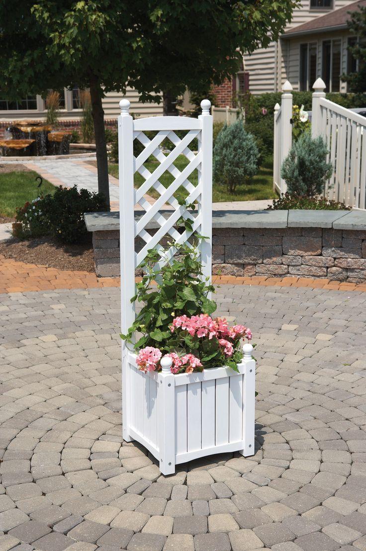 Dmc lexington square planter box planter trellis