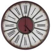Large Beige & Red Wall Clock with Metal Accents