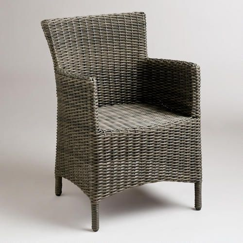 WorldMarket.com: Grey Solano All-Weather Wicker Dining Arm Chair. $139.99.  As shown in Adventures in Decorating Sitting Room.  April, 2013. http://adventuresindecorating1.blogspot.com/2013/04/he-flew-on-over.html?utm_source=feedburner_medium=email_campaign=Feed%3A+blogspot%2FfQZyf+%28Adventures+in+Decorating%29