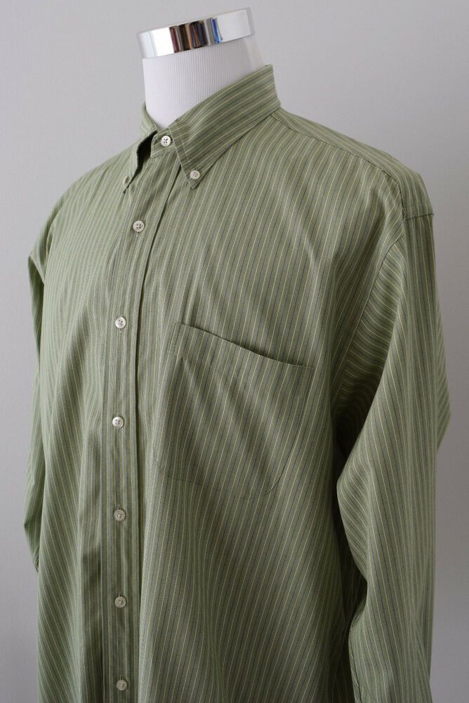 66623778 BROOKS BROTHERS 1818 Men's Shirt Light Green Blue White Striped L/S Cotton  17-3 #BrooksBrothers