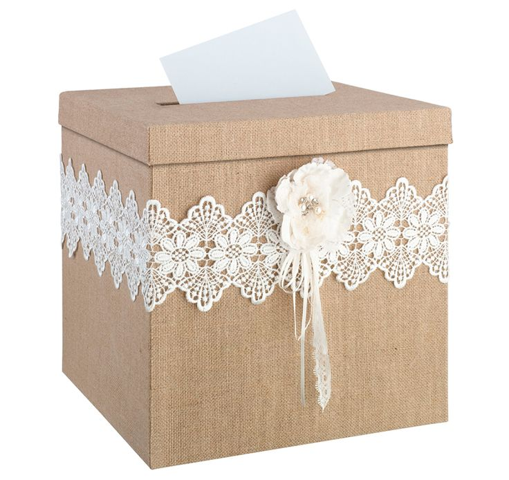This Burlap and Lace Card Box is perfect for the couple celebrating a rustic or country theme wedding.  Box is covered in burlap and lace with a rhinestone filled, hand-crafted paper flower.  The lid has a slot so that your guests can deposit their cards and it slides off so the couple can retrieve them.