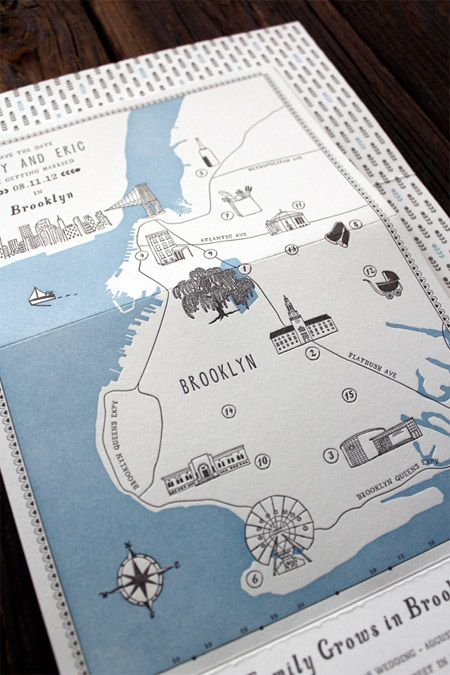 Brooklyn Letterpress Wedding Map / Save The Date http://www.behance.net/gallery/A-Family-Grows-in-Brooklyn-Save-the-Date/5032311