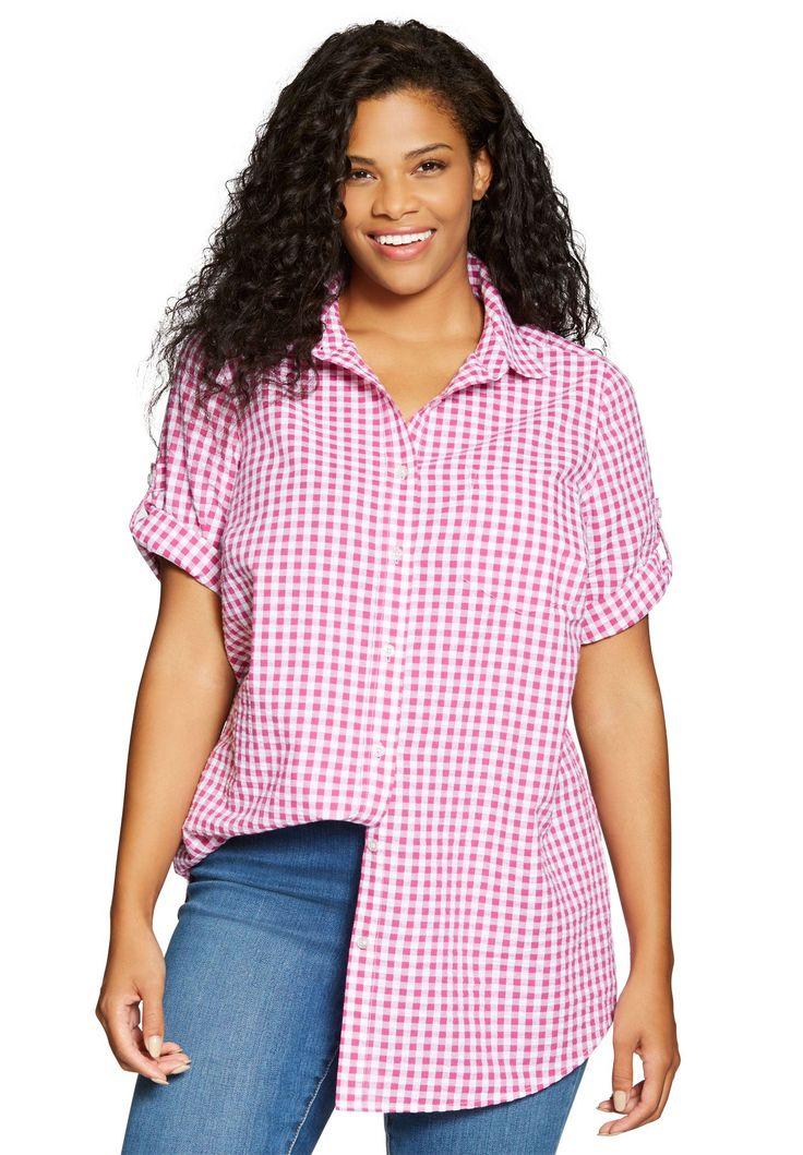 Shirt, seersucker with generous fit - Women's Plus Size Clothing