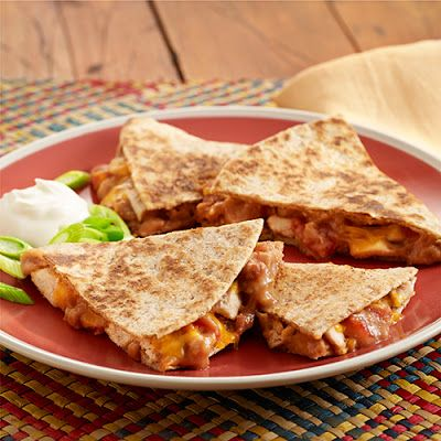 Refried Bean and Chicken Quesadillas @keyingredient #cheese #chicken #cheddar #tomatoes